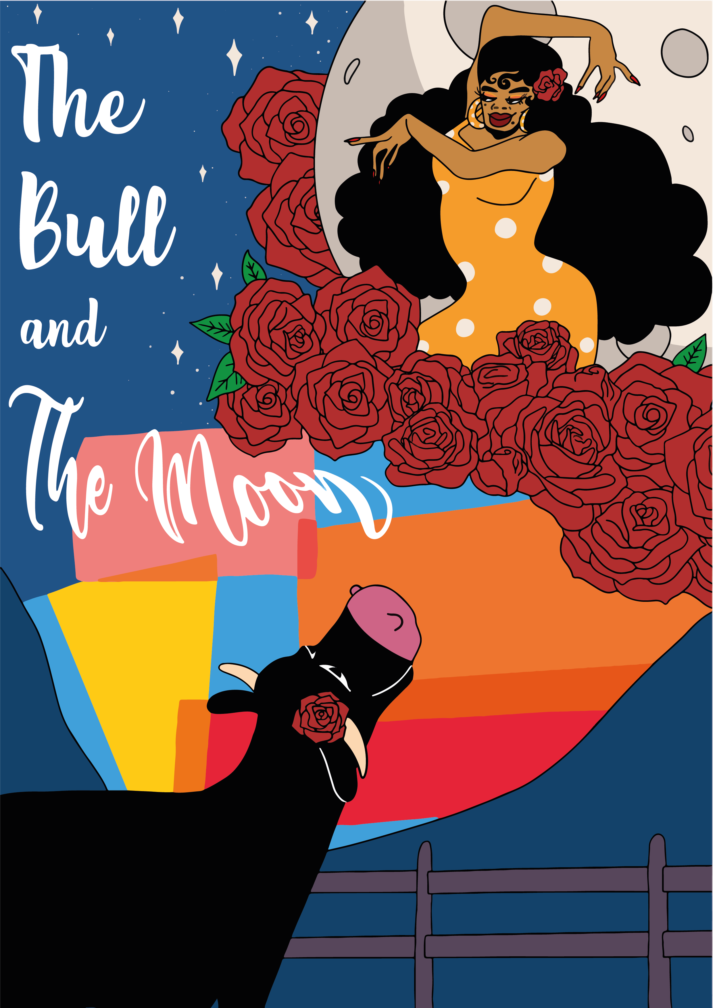bull and moon poster